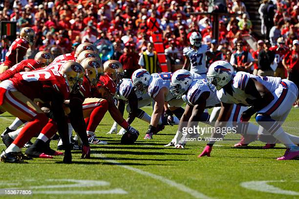 General view of the line of scrimmage before a play between the San Francisco 49ers and the Buffalo Bills during the second quarter at Candlestick...