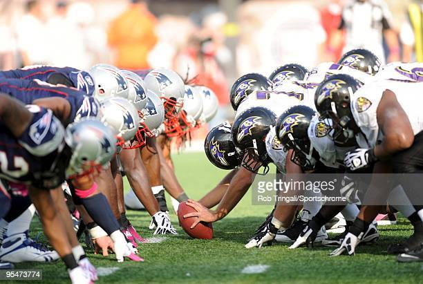 General view of the line of scrimmage before the snap during the game between the Baltimore Ravens and the New England Patriots at Gillette Stadium...