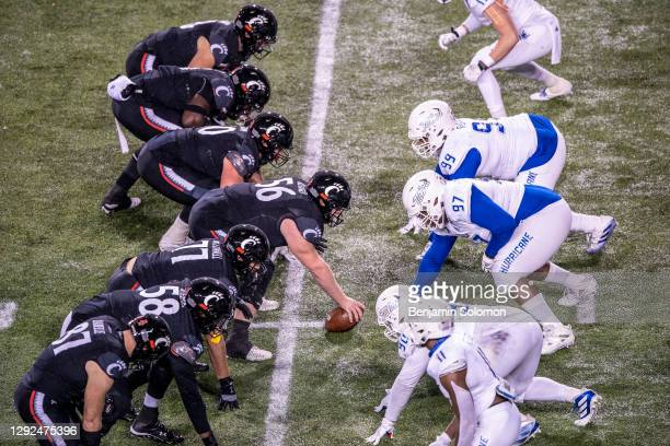 General view of the line of scrimmage between the Cincinnati Bearcats and Tulsa Golden Hurricane during the American Athletic Conference football...