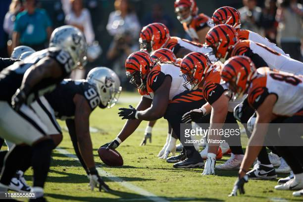 General view of the line of scrimmage during the second quarter between the Oakland Raiders and the Cincinnati Bengals at RingCentral Coliseum on...