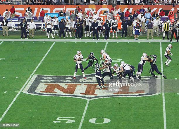 General view of the line of scrimmage on the NFL logo crest when the New England Patriots and the Seattle Seahawks play in the Super Bowl at...