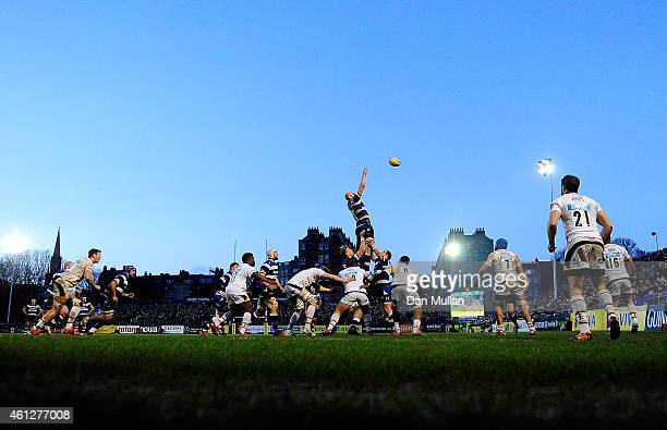 A general view of the lineout during the Aviva Premiership match between Bath Rugby and Wasps at The Recreation Ground on January 10 2015 in Bath...