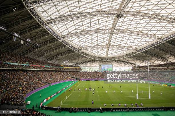 General view of the line-out during the Rugby World Cup 2019 Group D game between Australia and Uruguay at Oita Stadium on October 05, 2019 in Oita,...