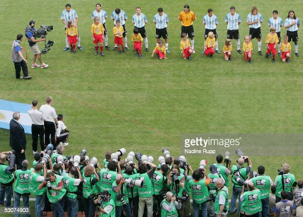 General view of the lineup and the the media in the opposite during the national anthem during the FIFA Confederations Cup Match between Argentina...