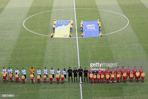General view of the lineup during the national anthem during the FIFA Confederations Cup Match between Argentina and Tunisia on June 15 2005 in...