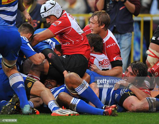 General view of the Lions scoring a try during the Super Rugby match between DHL Stormers and Emirates Lions at DHL Newlands Stadium on June 06 2015...