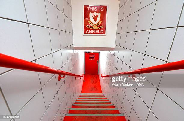 General view of the Liverpool club badge in the players tunnel before the Barclays Premier League match between Liverpool and West Bromwich Albion at...