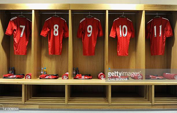 A general view of the Liverpool dressing room ahead of the NextGen Series SemiFinal match between Liverpool U19 and Ajax U19 at Langtree Park on...