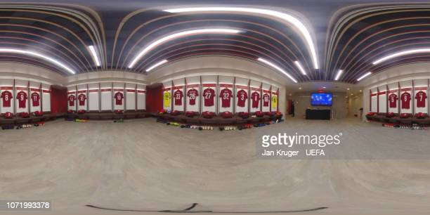 A general view of the Liverpool dressing room ahead of the UEFA Champions League Group C match between Liverpool and SSC Napoli at Anfield on...