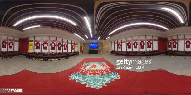 A general view of the Liverpool dressing room ahead of the UEFA Champions League Round of 16 First Leg match between Liverpool and FC Bayern Muenchen...