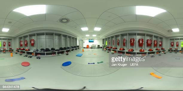 A general view of the Liverpool dressing room prior to the UEFA Champions League quarter final second leg between Manchester City and Liverpool on...