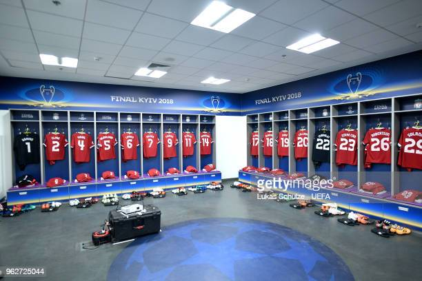 A general view of the Liverpool dressing room prior to the UEFA Champions League Final between Real Madrid and Liverpool at NSC Olimpiyskiy Stadium...