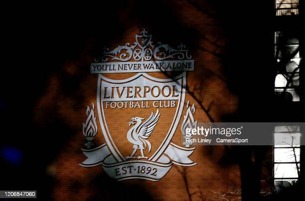 General view of the Liverpool Football Club emblem as fans arrive ahead of the UEFA Champions League round of 16 second leg match between Liverpool...