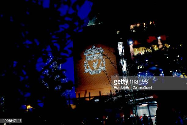 A general view of the Liverpool Football Club emblem as fans arrive ahead of the UEFA Champions League round of 16 second leg match between Liverpool...