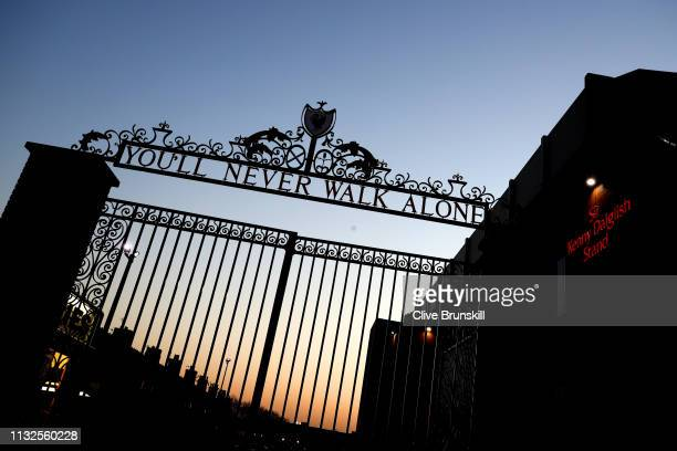 A general view of the Liverpool gates outside the stadium prior to the Premier League match between Liverpool FC and Watford FC at Anfield on...