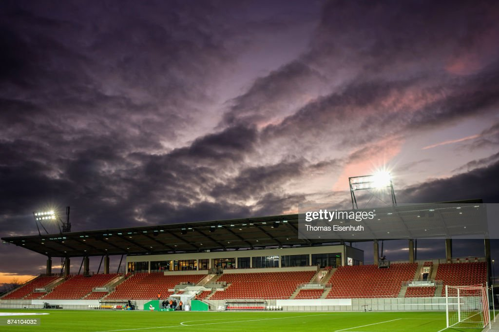 A general view of the local football stadium in Zwickau prior the Under 20 International Friendly match between U20 of Germany and U20 of England at Stadion Zwickau on November 14, 2017 in Zwickau, Germany.