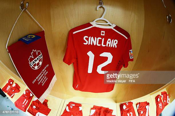 A general view of the locker of Christine Sinclair of Canada before the match against China PR at Commonwealth Stadium on June 6 2015 in Edmonton...