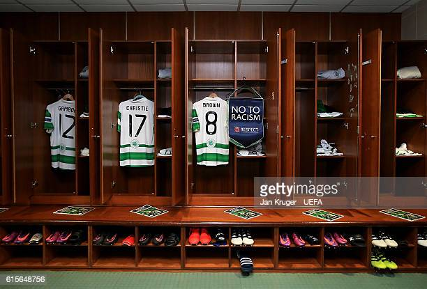 A general view of the locker of Scott Brown of Celtic and the 'No to Racism' pennant ahead of the UEFA Champions League match between Celtic FC and...