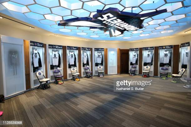 A general view of the locker room of against Team Giannis prior to the 2019 NBA AllStar Game on February 17 2019 at the Spectrum Center in Charlotte...