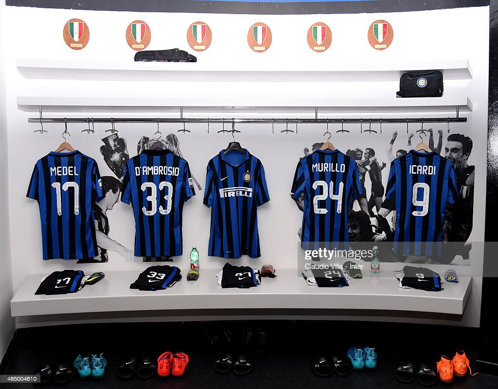 A general view of the locker room of FC Internazionale before the Serie A match between FC Internazionale Milano and Atalanta BC at Stadio Giuseppe Meazza on August 23, 2015 in Milan, Italy.