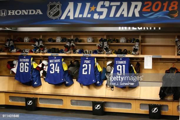A general view of the locker room stalls is seen of Nikita Kucherov of the Tampa Bay Lightning Auston Matthews of the Toronto Maple Leafs Brayden...