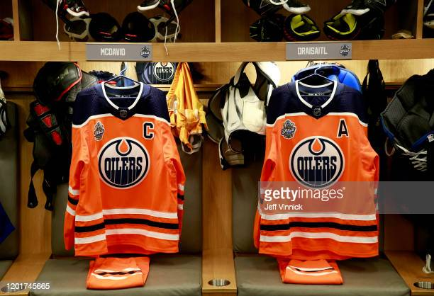 A general view of the locker room stalls of Connor McDavid and Leon Draisaitl of the Edmonton Oilers is seen prior to 2020 NHL AllStar Skills...