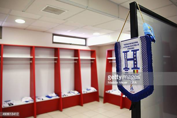 A general view of the lockerroom of Honduras before their FIFA U17 World Cup Chile 2015 group D match between Belgium and Honduras at Estadio Fiscal...