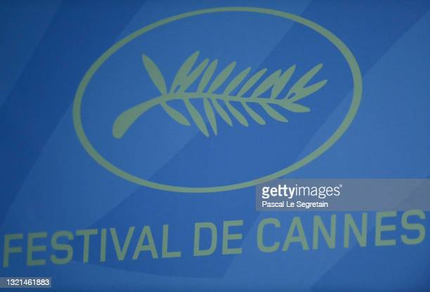 General view of the logo as Cannes Film Festival director Thierry Fremaux and President of the Cannes Film Festival Pierre Lescure speak during the...