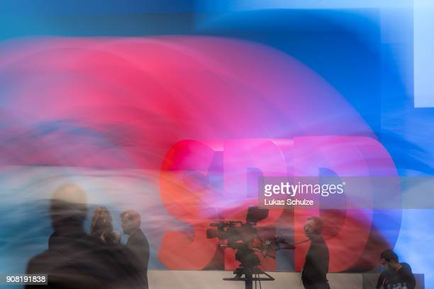 General view of the logo of the Social Democrats at the SPD federal congress on January 21 2018 in Bonn Germany The SPD is holding the congress to...