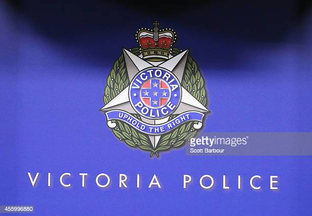 A general view of the logo of Victoria Police during a press conference in relation to the man shot after an altercation with Counter Terrorism...
