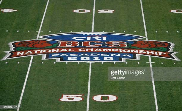 A general view of the logo on the field before the Texas Longhorns take on the Alabama Crimson Tide in the Citi BCS National Championship game at the...