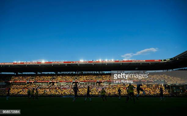 General view of the Lomax stand in the sun during the Danish Alka Superliga match between Brondby IF and FC Midtjylland at Brondby Stadion on May 14...