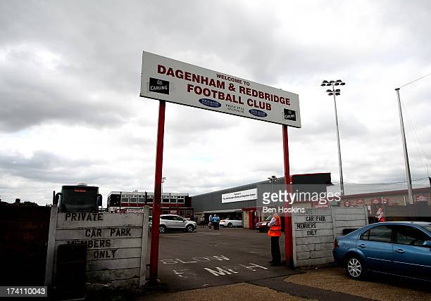 General view of The London Borough of Barking and Dagenham Stadium prior to a pre season friendly match between Dagenham and Redbridge and Crystal...