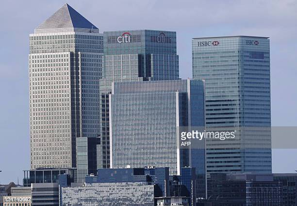 A general view of the London headquarters of British banks HSBC and Barclays is pictured at Canary Wharf in east London on September 12 2011...