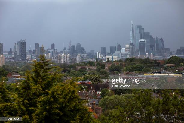 General view of the London Skyline and the Square Mile on April 30, 2020 in London, England. British Prime Minister Boris Johnson, who returned to...