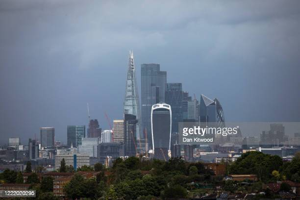 A general view of the London Skyline and the Square Mile on April 30 2020 in London England British Prime Minister Boris Johnson who returned to...