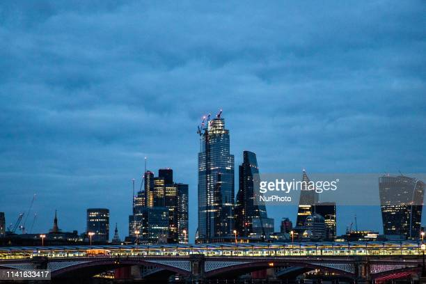 A general view of the London skyline at night in London United Kingdom on May 5 2019