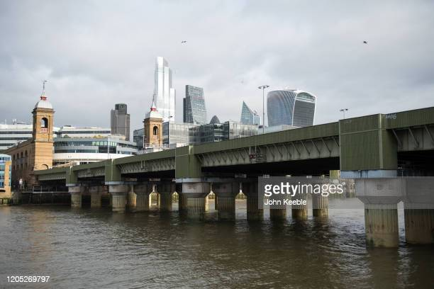 General view of the London skyline from Southwark looking toward Cannon Street railway bridge, National Westminster Tower, Nat-West Tower 42 , 22...