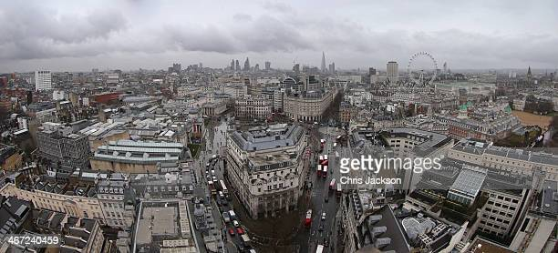 A general view of the London Skyline on a wet day on February 6 2014 in London England