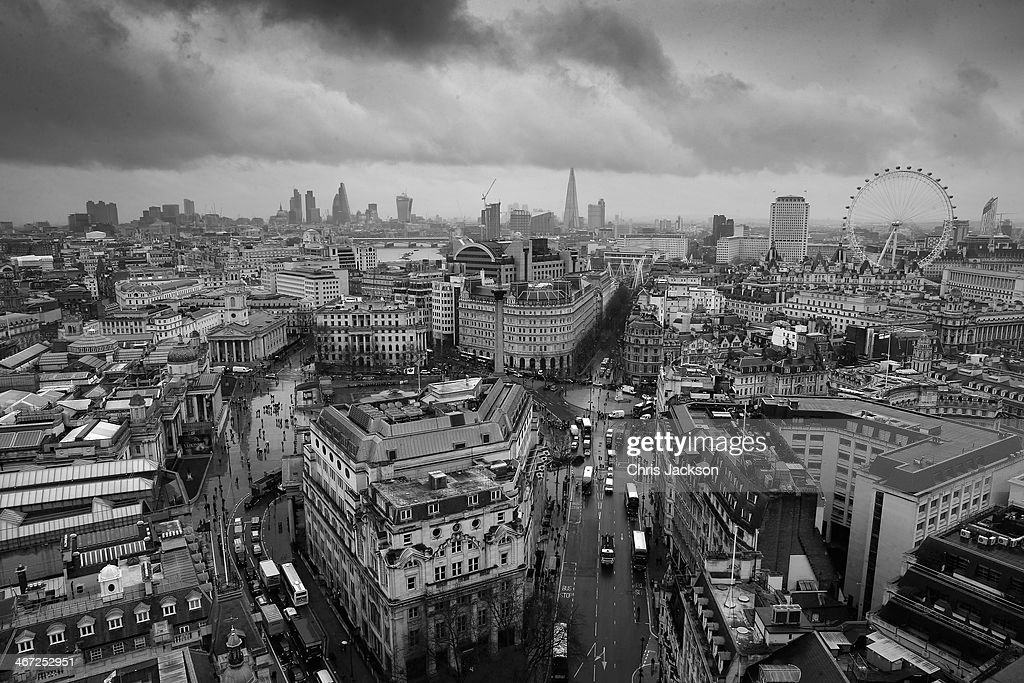 A general view of the London Skyline on a wet day on February 6, 2014 in London, England.
