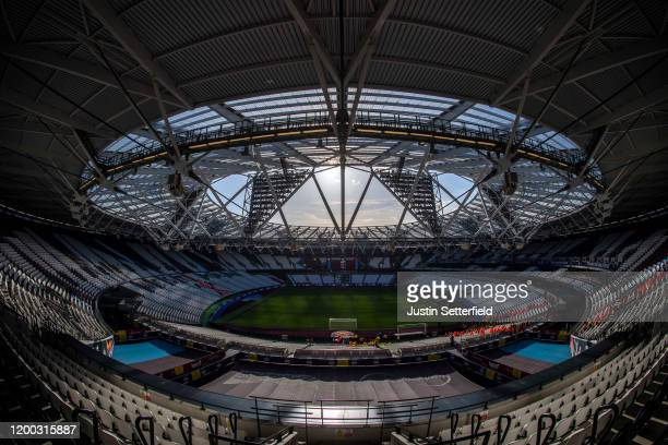 General view of the London Stadium ahead of the Premier League match between West Ham United and Everton FC at London Stadium on January 18, 2020 in...
