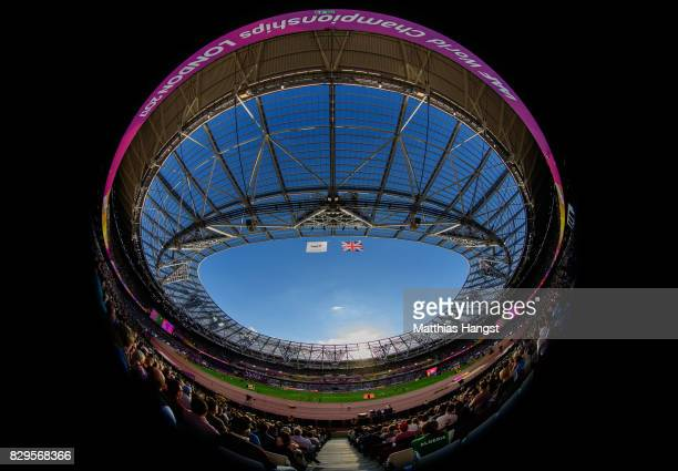 A general view of The London Stadium as Athletes compete in the womens 5000 metres heats during day seven of the 16th IAAF World Athletics...