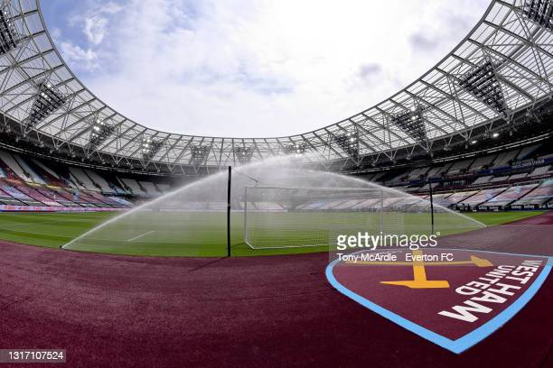 General view of the London Stadium before the Premier League match between West Ham United and Everton at London Stadium on May 09, 2021 in London,...