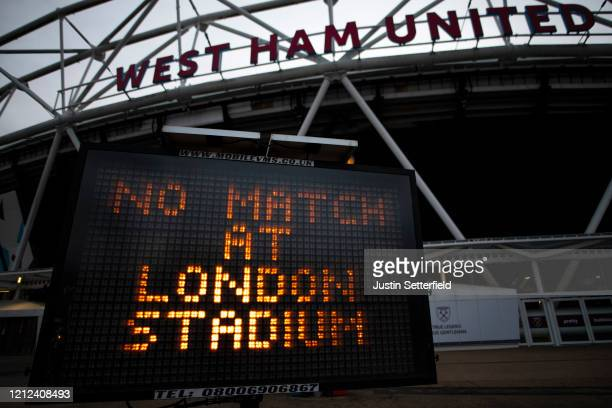 General view of the London Stadium, home of West Ham United as all Premier League matches are postponed until at least April 4th due to the...