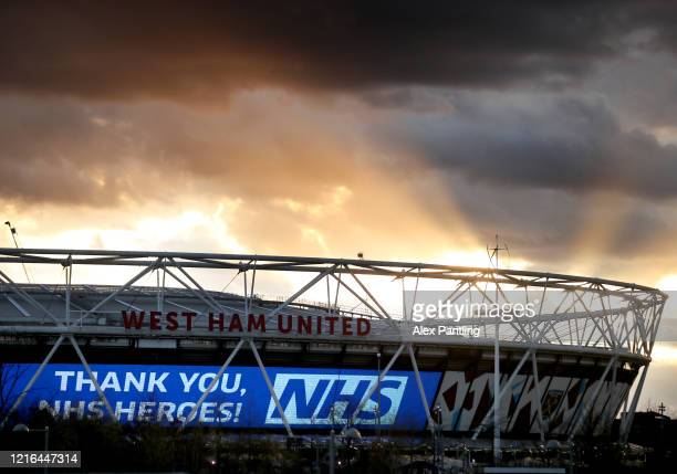 General view of The London Stadium, home to West Ham United as it lights up to thanks the NHS on April 02, 2020 in London, United Kingdom. Members of...