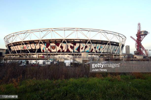 A general view of the London Stadium prior to the Premier League match between West Ham United and Fulham FC at the London Stadium on February 22...