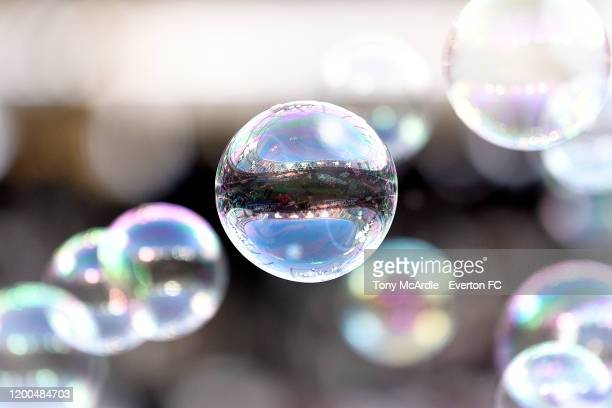 General view of The London Stadium reflected in a bubble before the Premier League match between West Ham United and Everton at London Stadium on...