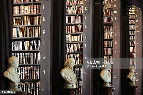 General view of the Long Room in the Trinity College Library the largest library in Ireland on April 19 2016 in Dublin Ireland Illustrative picture...