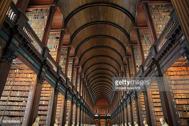General view of the Long Room in the Trinity College Library, the largest library in Ireland on April 19, 2016 in Dublin, Ireland. Illustrative...