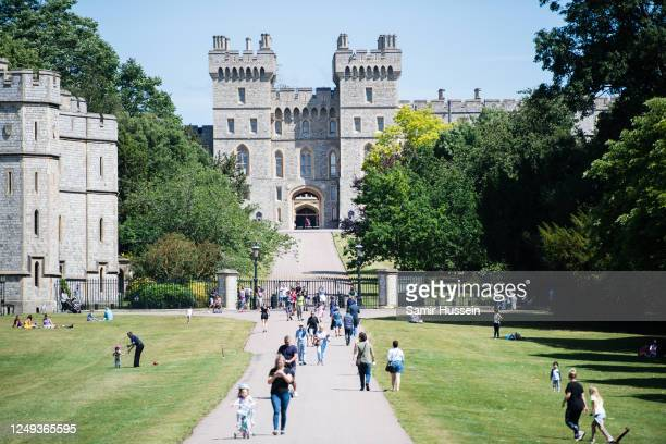 General view of the Long Walk and Windsor Castle during Trooping The Colour, the Queen's birthday ceremony at Windsor Castle on June 13, 2020 in...